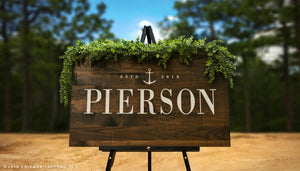 Rustic Wedding Signs, Large Wood Welcome Sign, Anchored in Love, Nautical Decor (GP1176)