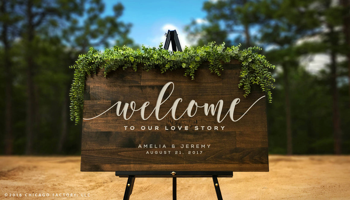 Custom Welcome Wedding Sign, Welcome to Our Love Story (GP1166)