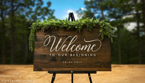 Custom Welcome to Our Beginning Sign, Large Rustic Wood Sign (GP1170)