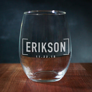 Last Name Stemless Wedding Wine Glass (GG4104)