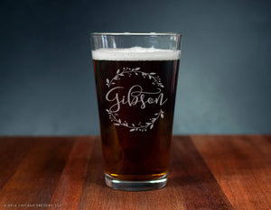Last Name Glass, Custom Engraved Ale Glass (GG4141)