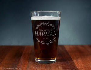 Last Name Glass Custom Engraved Ale Glass (GG4148)