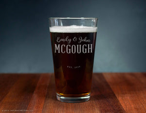Last Name Glass, Custom Engraved Ale Glass (GG4146)