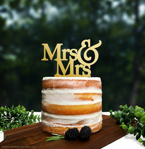 Gold Gay Lesbian Wedding Cake Topper, Mrs and Mrs, Gay Wedding Decor, Lesbian Wedding Decorations, Lesbian Wedding Topper, Engayged (T003)