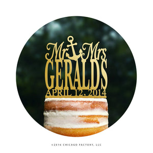 Custom Mr and Mrs Cake Topper, Surname Wedding Cake Topper, Beach Wedding Cake Topper, Nautical Wedding Cake Topper, Name Cake Topper (T041)