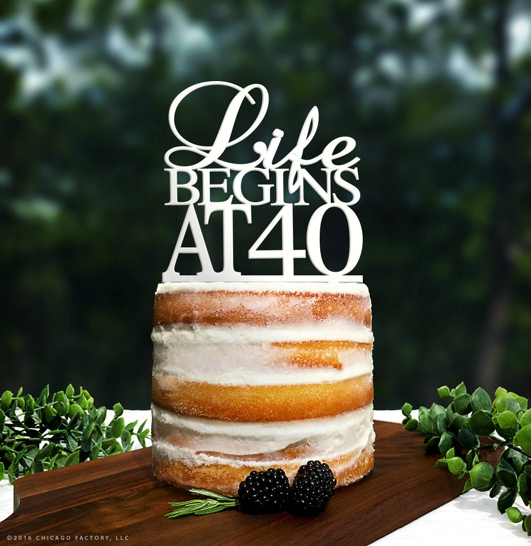 Terrific Gold Life Begins At 40 Cake Topper 40Th Birthday Cake Topper Funny Birthday Cards Online Necthendildamsfinfo