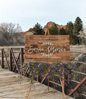 Same Sex Wedding Welcome Wedding Sign Rustic Wedding Sign (GP1337)