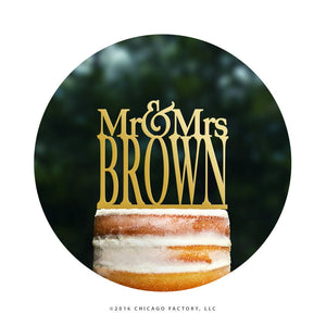 Silver Mr And Mrs Wedding Cake Topper, Wedding Name Cake Topper, Custom Cake Topper, Last Name Cake Topper, Monogram Cake Topper (T014)