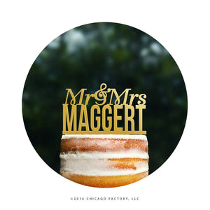 Personalized Mr and Mrs Last Name Wedding Cake Topper, Surname Cake Topper, Modern Wedding Cake Topper, Custom Wedding Cake Topper (T070)