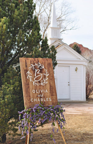 Initial Sign Large Wedding Welcome Sign Wood Sign Rustic Wedding (GP1327)