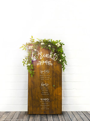 Custom Drinks Sign, Wedding Bar Sign, Unique Wedding Sign, Wedding Drinks Menu Board, Bar Sign (GP1349)
