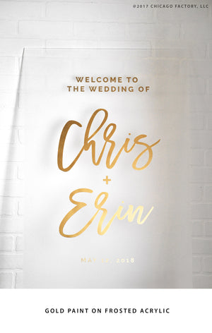 Personalized Welcome Wedding Sign Acrylic Wedding Sign  Welcome Bridal Wedding Date Sign (GP1127-AL)