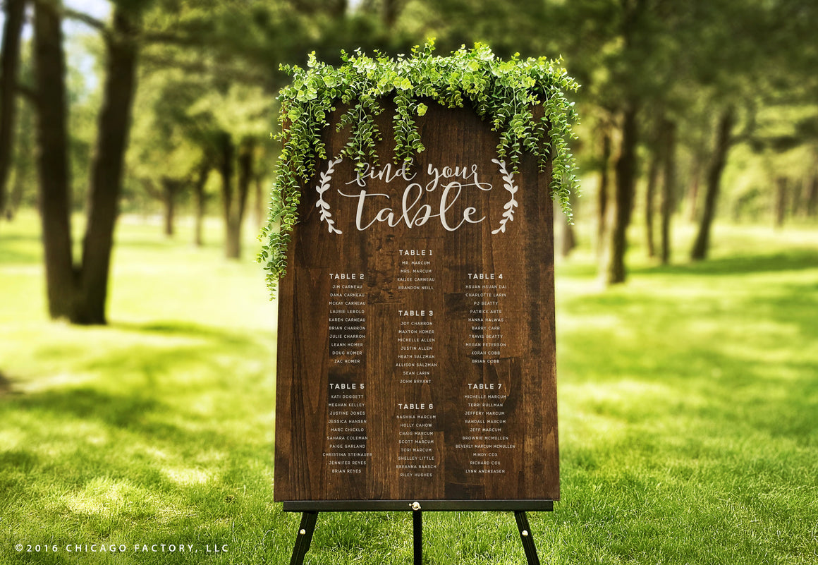 Wedding Table Sign, Custom Wedding Sign Wood, Wedding Seating Chart (GP1272)