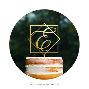 Gold Letter Cake Topper Geometric Wedding Cake Topper (T469)