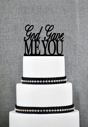 Scripted God Gave Me You Wedding Cake Topper, Scripted Cake Topper, Religious Cake Topper, Wedding Cake Decor, Bible Cake Topper (T102)