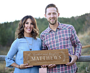 Personalized Wooden Last Name Established Sign - Farmhouse Decor (GP1950)
