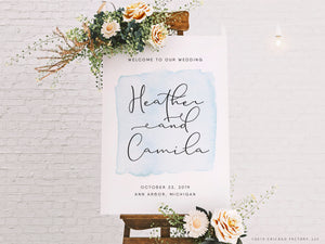 Acrylic Welcome To Our Wedding Sign Boho Watercolor Signs Reception Decor (GP2057-A)