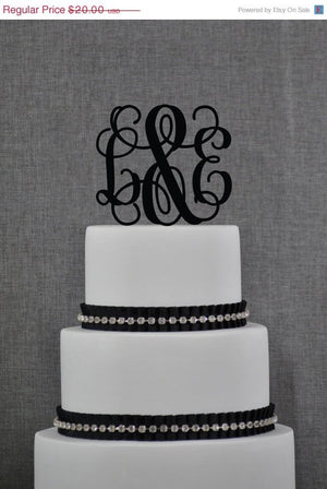 Personalized Monogram Wedding Cake Topper Initials Cake Topper Vine Monogram Wedding Engaged Cake Topper Bridal Shower Cake Topper (T052)