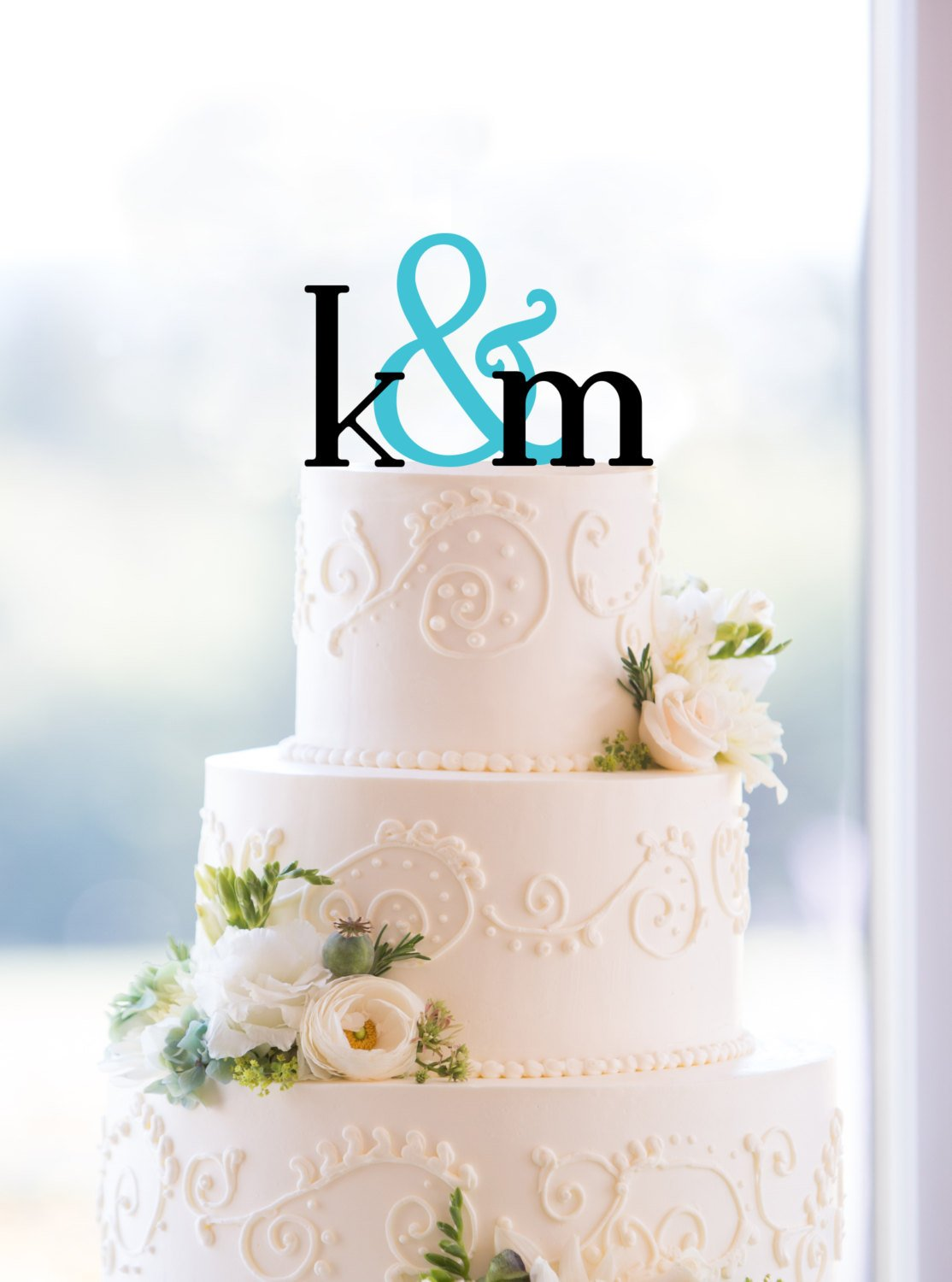 Monogram Wedding Cake Topper, Custom Two Initials and Ampersand Topper, Personalized Engagement Gift, Initial Monogram Wedding Topper (T053)