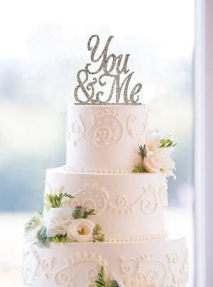Scripted You and Me Glitter Wedding Cake Topper, You & Me Cake Topper, Gold Cake Toppers, Modern Cake Topper, Calligraphy Cake Topper (T061)