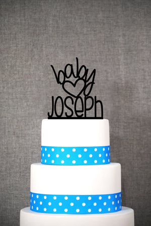 Cute Custom Baby Name Cake Topper, Baby Boy Cake Topper, Baby Shower Decorations, Baby Sprinkle Cake Toper, Welcome Baby Cake Topper (T073)