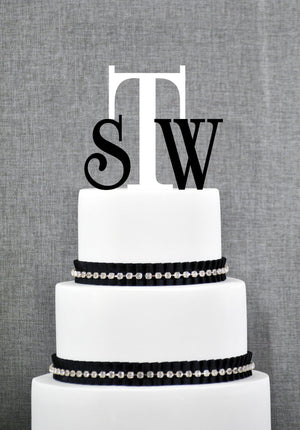 Monogram Three Initial Cake Topper, Wedding Cake Topper, Engagement Present, Couples Gift, Customizable Uppercase & Lowercase Letters (T046)