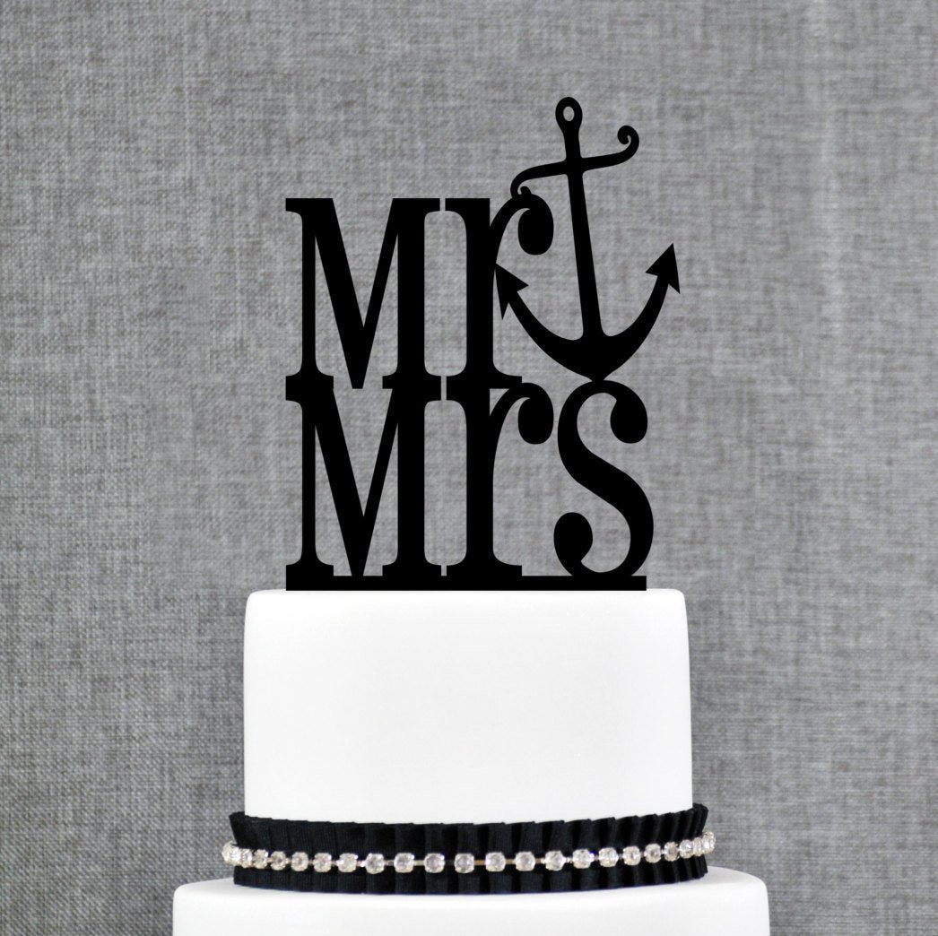 Custom Nautical Wedding Cake Topper, Beach Wedding Cake Topper, Wooden Wedding Cake Topper, Cake Topper Engagement, Mr and Mrs Topper (T110)