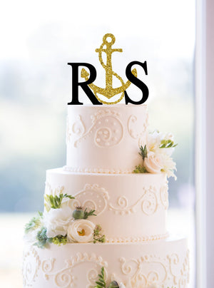 Custom Nautical Wedding Cake Topper, Letter Cake Topper, Beach Wedding Cake Topper, Initial Cake Topper, Monogram Wedding Cake Topper (T076)