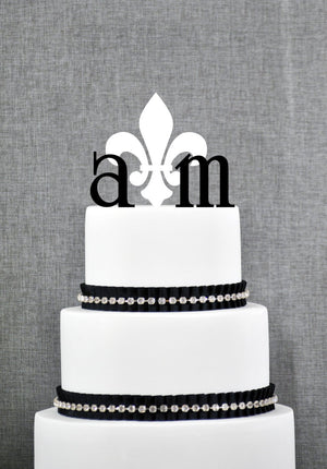 Gold Monogram Cake Topper, Fleur de Lis Cake Topper, Paris Cake Topper, French Wedding Cake Topper, New Orleans Cake Topper (T085)