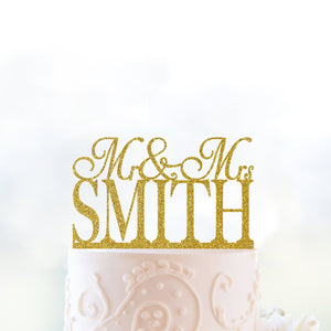Glitter Mr and Mrs Cake Topper, Personalized Wedding Name Cake Topper, Custom Wedding Sign, Elegant Cake Topper, Unique Cake Topper (T005)
