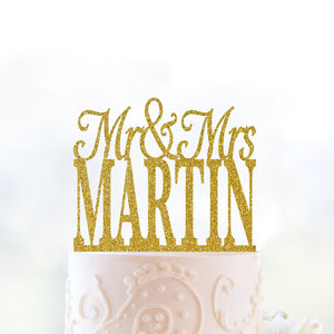 Gold Last Name Cake Topper Custom Wedding Decor Mr And Mrs Cake Topper Wedding Cake Topper Anniversary Party Engaged Cake Topper Gold (T016)