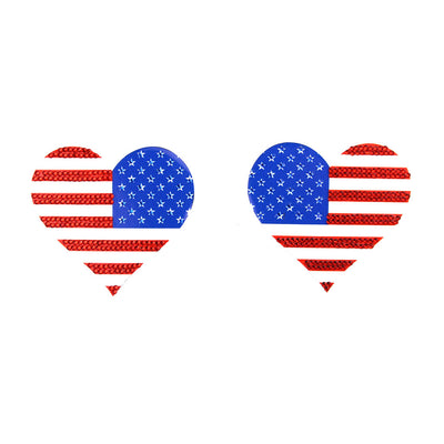 American Flag Heart Nipple Pasties and Covers
