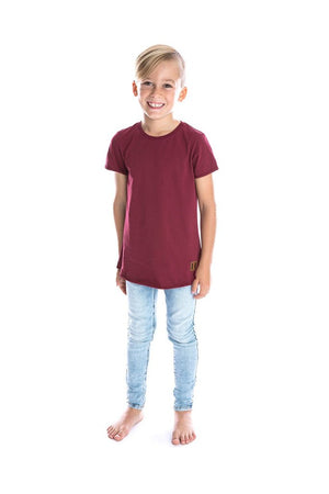 Maroon Signature Raw Edge Tee - Kids