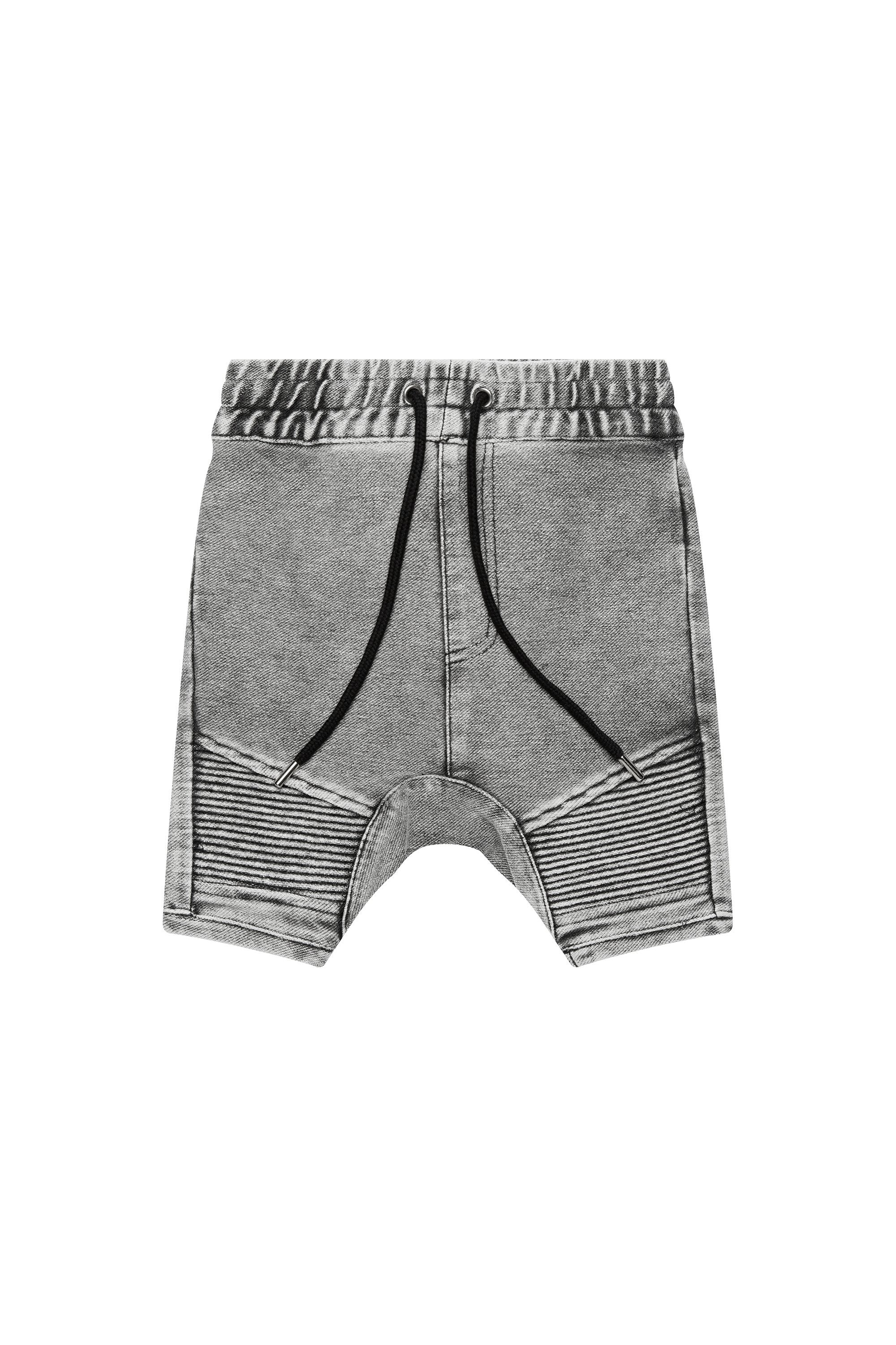 Grey Denim Biker Shorts