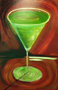 "Martini Glass Painting - ""Vodka and Wheat Grass"""