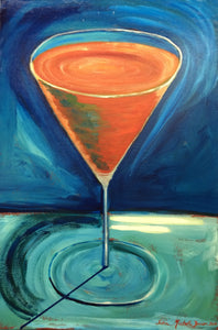 "Martini Glass Painting - ""Blood Orange"""