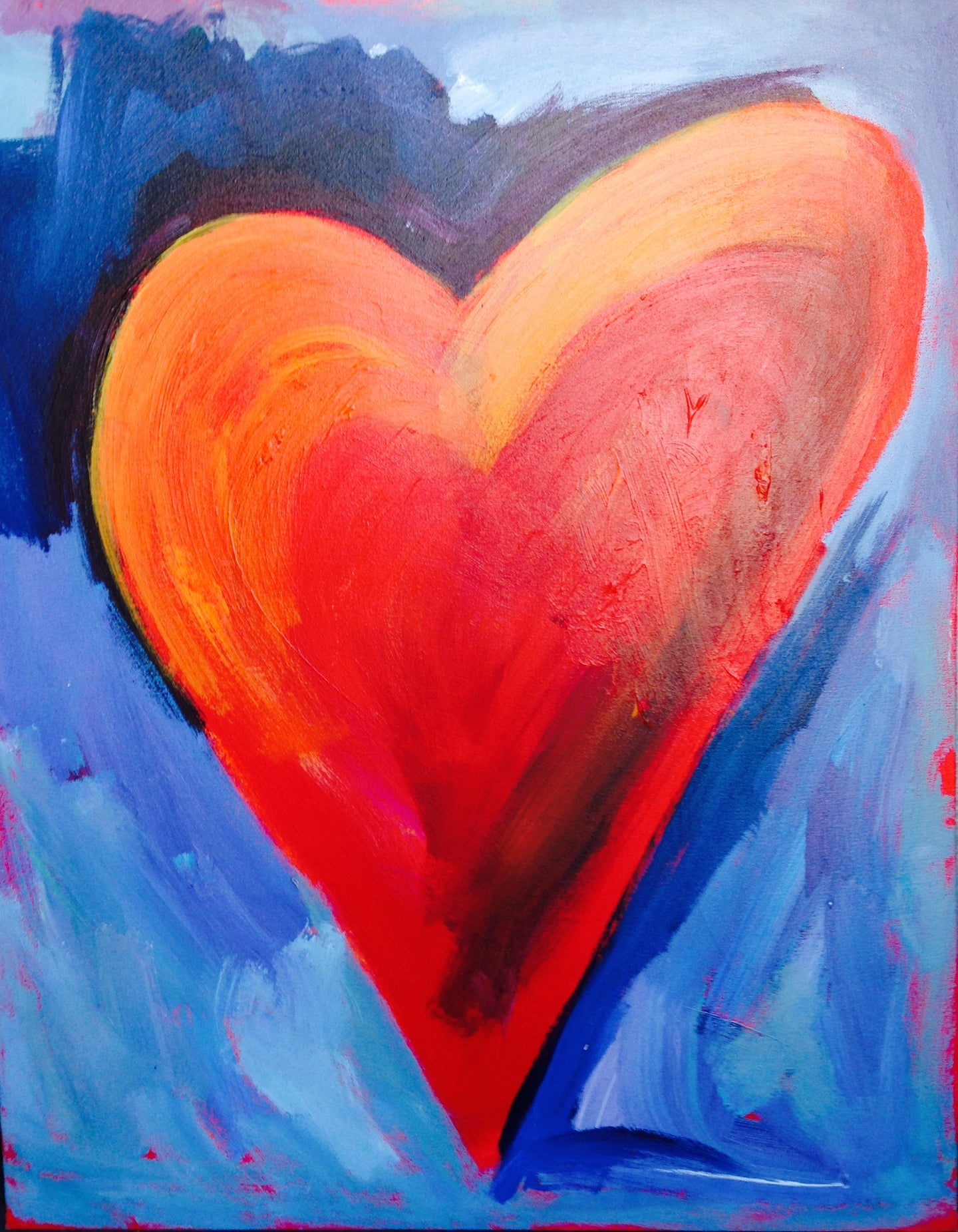 Heart Painting - Red/Purple