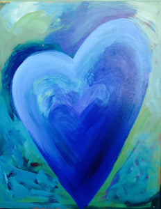 Heart Painting - Blue