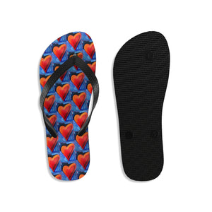 "Unisex Flip-Flops with Red Hearts from the ""Hearts on Fire"" Collection"