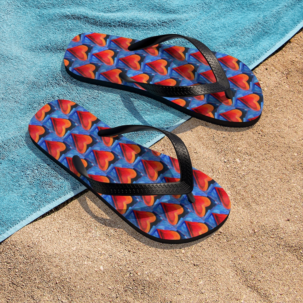 Unisex Flip-Flops with Red Hearts from the
