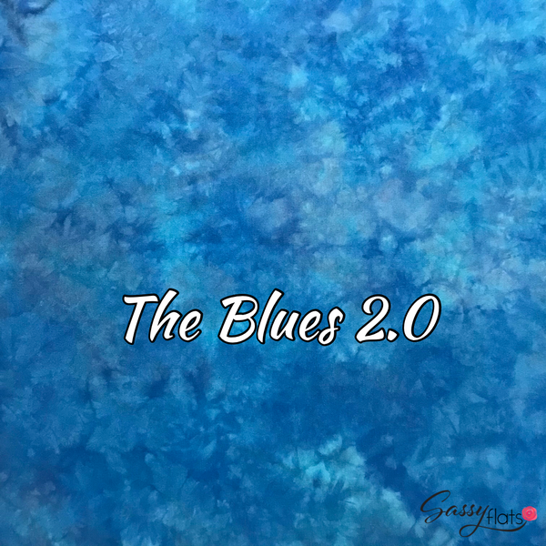 """The Blues 2.0"" hand dyed stretchy Sassy Flats reusable flat cloth diapers"