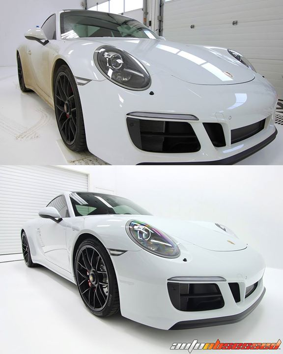 Dirty and clean, black and white, night and day. Porsche GTS detailed in our Edmonton detailing shop and ready for presentation to its owner.  This ca