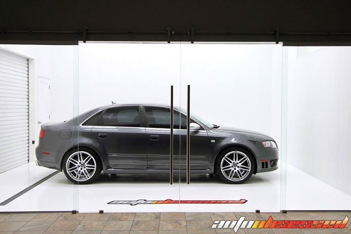 2008 Audi RS4 waiting for its owner in our Edmonton Clean Room. Exterior detail (wheels, tires, exhaust tips, engine compartment, exterior glass and p