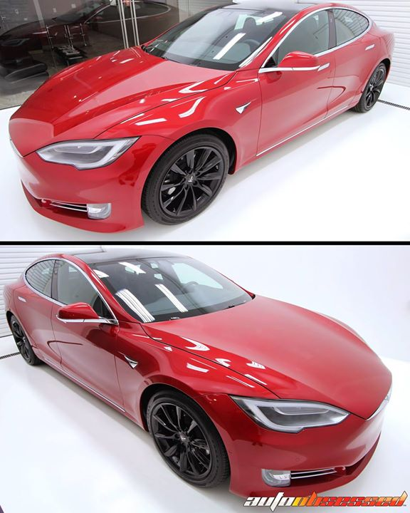 Bold, striking, Multi-Coat Red paint on this 2018 Tesla Model S. Here it is in our Clean Room for a final inspection and touch-up before being present