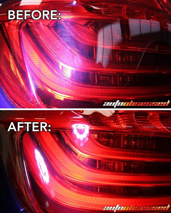 Tail light restoration done for this 2014 BMW M5.   Polished off snow brush scratches, clothing scuffs, etc. to restore a smooth, perfect surface.