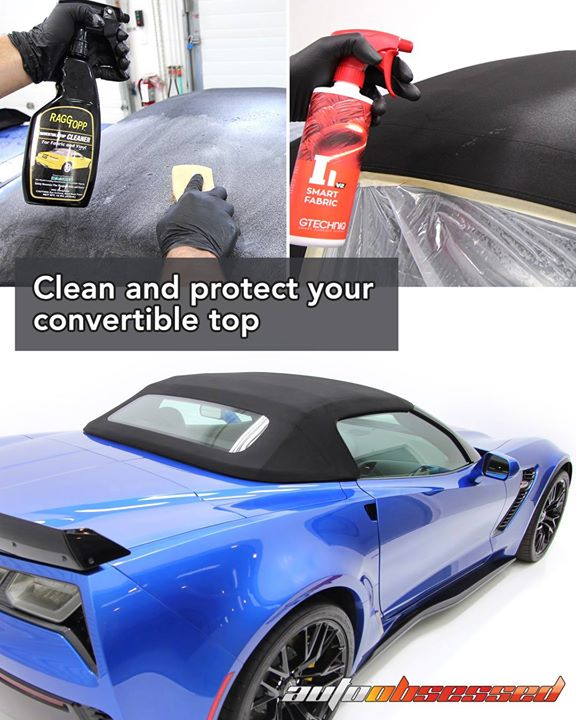 We use Raggtopp Convertible Top Cleaner and Gtechniq Smart Fabric protectant to wash and protect fabric convertible tops. You can get more info on the