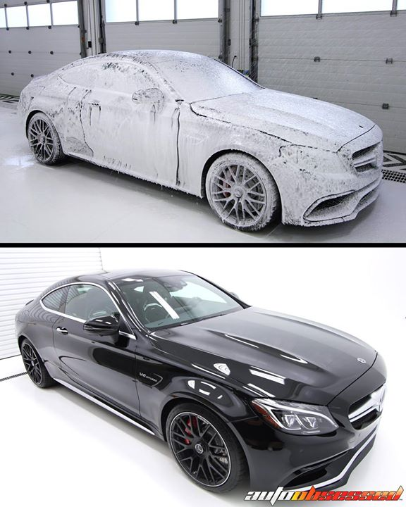 New car prep detail: 2018 Mercedes-Benz C63S with a wash, paint correction polishing, paint protection film installation, and a tough-but-beautiful la