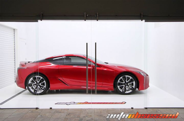 Post-detail, pre-pickup. This 2018 Lexus LC500 just gleams in our Clean Room. I think this color is called Sonic Red. It's glowing like a candy apple.