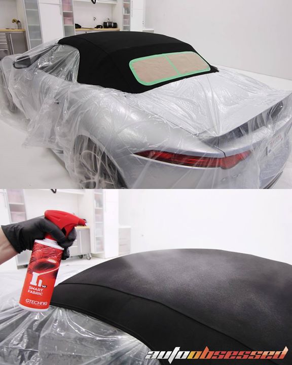 This Jaguar F-Type's fabric convertible top was cleaned with Raggtopp before being coated with Gtechniq I1 Smart Fabric hydrophobic stain protection.