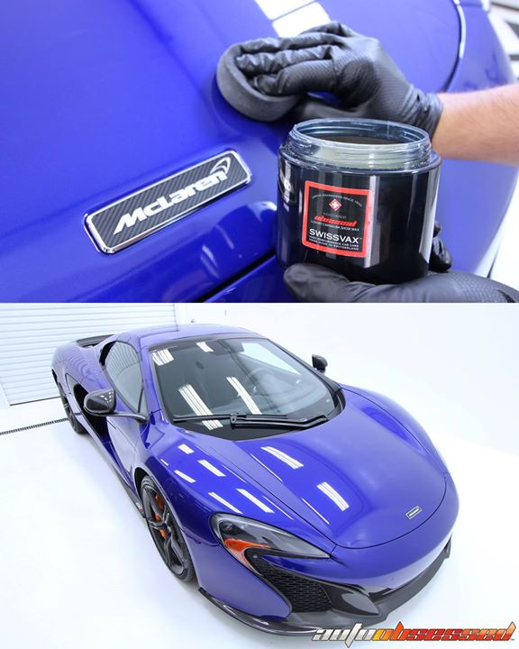 Applying a coat of wax as a final step in our detail of this 2015 McLaren 650S.